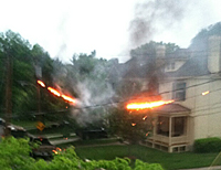 burning electrical lines